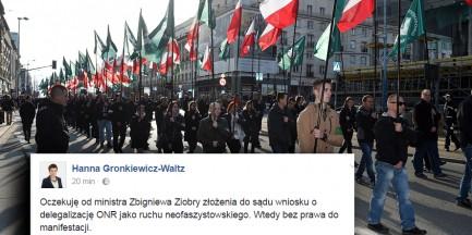 """Hanna Gronkiewicz-Waltz: """"Oczekuję delegalizacji ONR, jako ruchu neofaszystowskiego"""""""