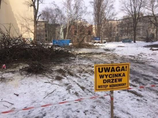 Wycinka drzew na Stalowej. Fot. WawaLove.pl