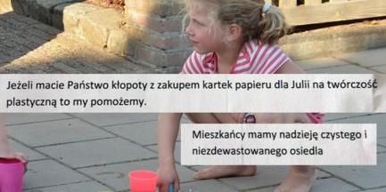 Mała Julia rysowała kredą po chodniku. Następnego dnia jej rodzice otrzymali upokarzające pismo