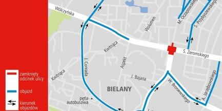 Wymiana nawierzchni skrzyżowania na Bielanach. Duże utrudnienia w ruchu