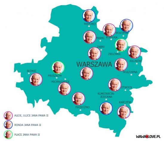 W Warszawie w wersji PiS będzie aż 11 ulic, 3 ronda i 2 place im. Jana Pawła II. Grafika: Iza Procyk-Lewandowska