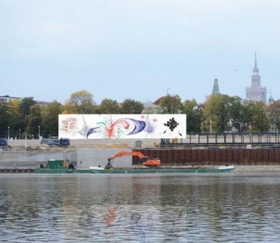 Muzeum Sztuki Nowoczesnej w Warszawie wybuduje tymczasowy pawilon wystawowy obok Centrum Nauki Kopernik. Nad Wisłą rozpoczęła się właśnie jego instalacja. Fot. mat. prasowe